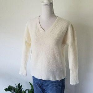 All Saints White Cream Wool V-Neck Sweater Small